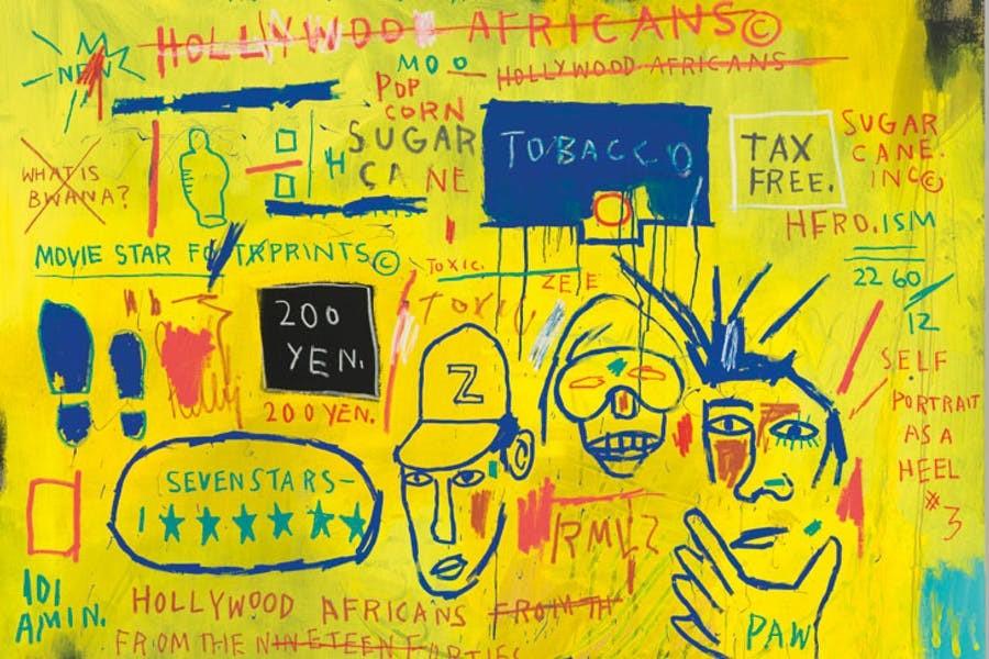 A sagração da pós-modernidade - Jean-Michel Basquiat adentra os museus com sua arte que festeja a rua, os pretos norte-americanos e um anti-academicismo que suplanta o mercado da arte por meio do traço livre e dos ícones coloridos.