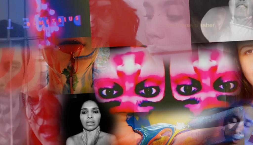 conjunto de artistas de poesia representando seus textos em um mosaico de cores e sobreposições