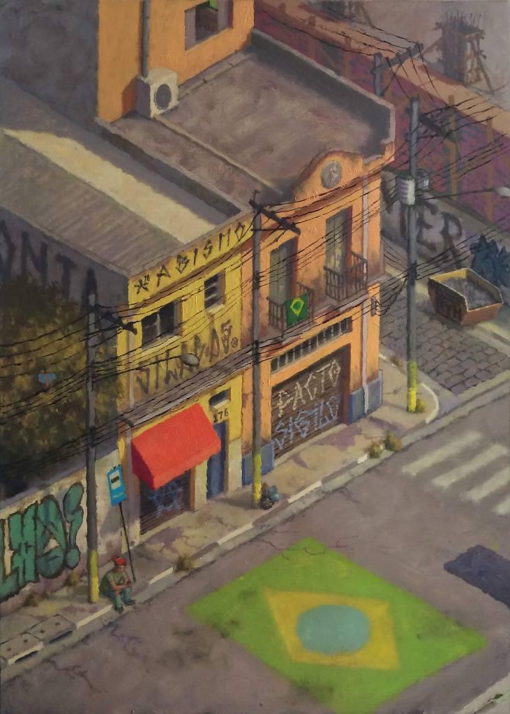 Pintura a óleo Brasil copa do mundo pobreza centro solidão cores