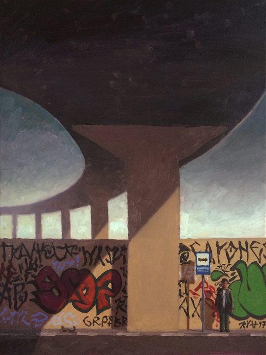 ponto de onibus viaduto pintura a óleo grafiti cinza centro