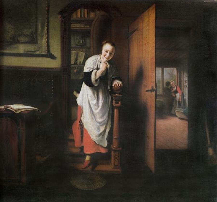 Nicolaes Maes, Bisbilhoteira e dois amantes (Alegoria do sentido de audição), aproximadamente 1656-57. Pintura a óleo. Londres: Casa de Apsley (Quarto de Piccadilly). 57.5 x 66 cm.