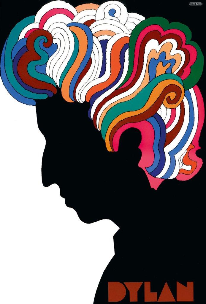 "Cartaz de Bob Dylan realizado para o LP ""Greatest Hits. Projeto de Milton Glaser, 1966."