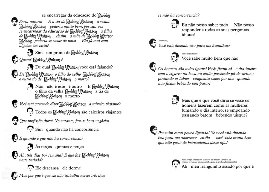 pagina de texto com diagramação das falas dos personagens