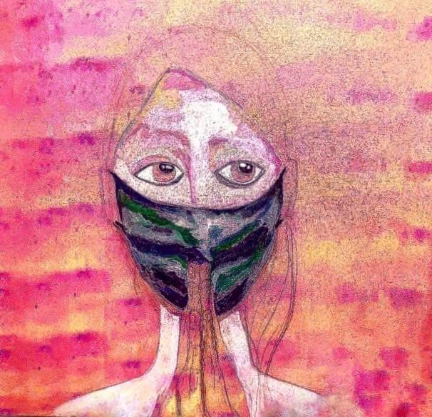 obra de pintura cor rosa mulher de mascara texturas rezando