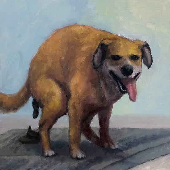 cachorro cagando risada pintura a óleo azul marrom