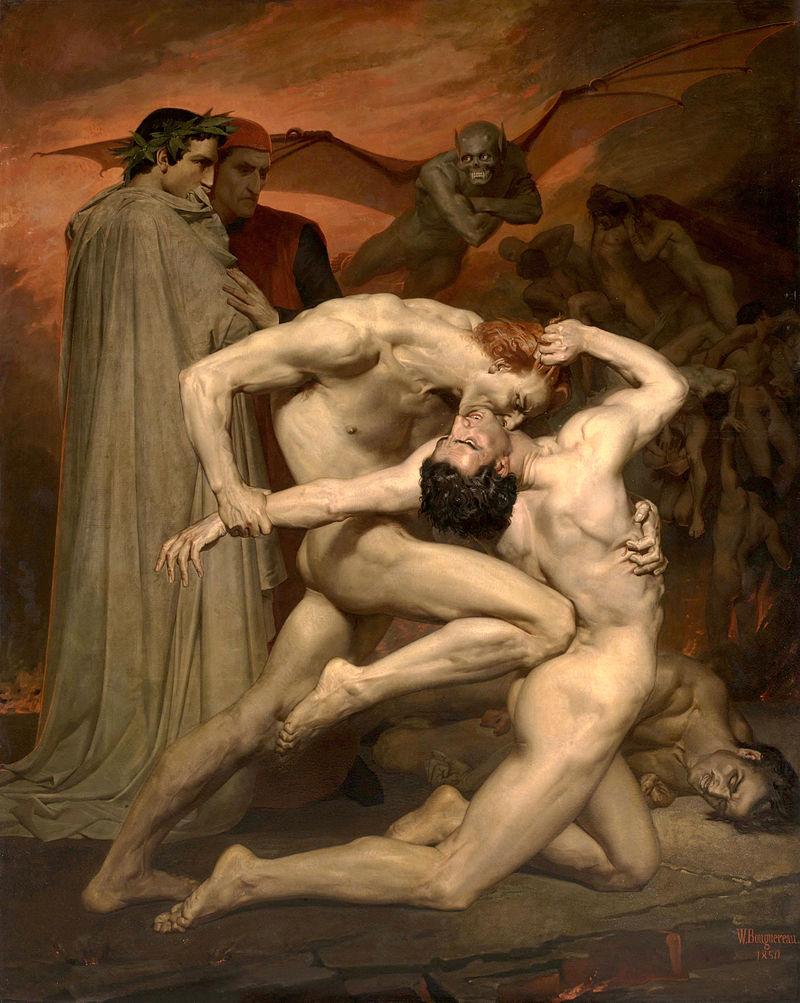 William-Adolphe Bouguereau (1825-1905), Dante e Virgílio, óleo sobre tela, 281x 225 cm, 1850. Conservada no Musée d'Orsay, Paris, França