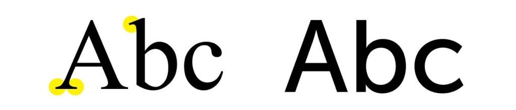 Figura 14. Exemplo de uma tipografia a esquerda com serifa e a direita sem serifa. Fonte: https://newenglandrepro.com/serif-vs-sans-serif-typeface/