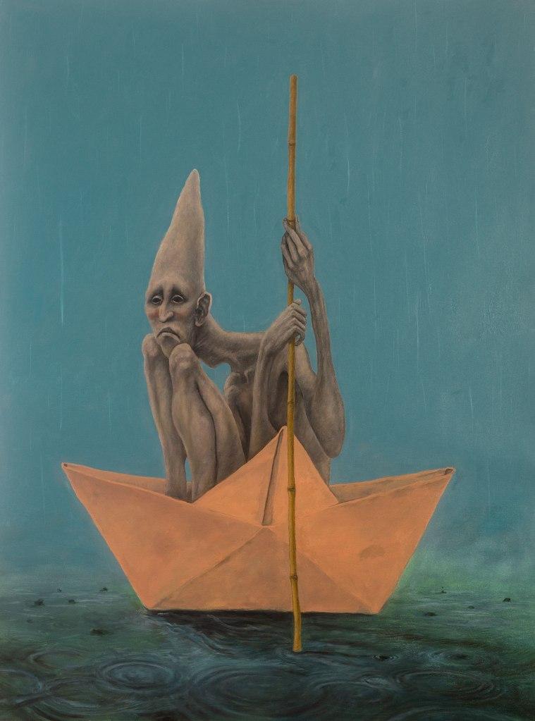 Homem a bordo de sua própria solidão. Óleo sobre tela - 89cm x 129cm - Artista: Susano Correia (@susanocorreia / www.susanocorreia.com.br)