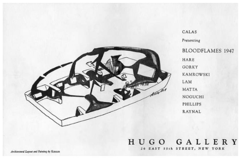 Fig 16. Capa do catálogo de Bloodflames. Fonte PHILLIPS, Stephen J. Elastic Architecture - Frederick Kiesler and Design Re- search in the First Age of Robotic Culture. The MIT Press. London. 2017. p.167