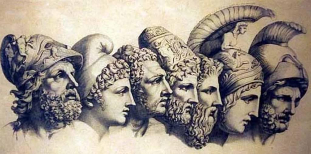 Ilustração de Deuses do Olimpo - panteão grego (autoria desconhecida)