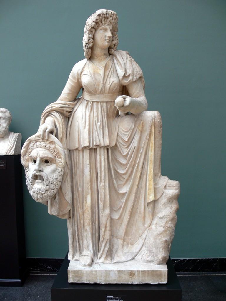 Representação da Deusa Grega, Melpomene. Seu símbolo é a máscara da tragédia