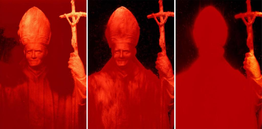 RED POPE I, II AND III, 1990, Ilfochrome, 114 x 268cm